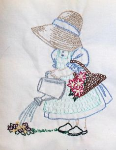 Stitched by my sister :) This is from Pattern Central. This is April from the 12 month Sunbonnet girls series.