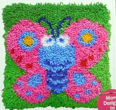 Buy Butterfly Latch Hook Kit from the Latch Hook range at Hobbycraft. Cartoon Butterfly, Butterfly Pattern, Butterfly Design, Latch Hook Rugs, Rug Hooking, Hobbies And Crafts, Design Crafts, Making Ideas, Needlework