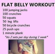 Flat Belly Workout, hmmmm I doubt this makes you flat in a week but it certainly wouldn't hurt to do it