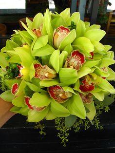 green cymbidium orchid bridal bouquet