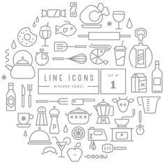line icon set Web Design, Icon Design, Logo Design, Flat Design, Design Layouts, Icon Set, Kitchen Icon, Kitchen Tools, Kitchen Modern