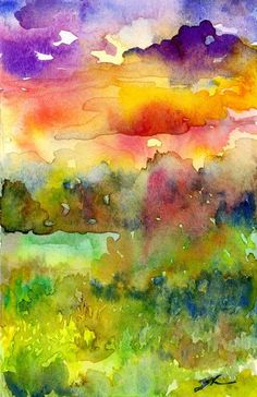 Original Watercolour Landscape painting - Sunset Sky