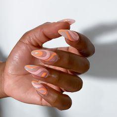 Almond Acrylic Nails, Best Acrylic Nails, Almond Nails, Stylish Nails, Trendy Nails, Nail Design Stiletto, Acylic Nails, Funky Nails, Fire Nails