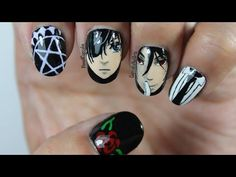 Black Butler Nails - Anime Nail Art - - YouTube