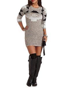 Marled Slub Knit Aztec Sweater Dress #CharlotteRusse #CRFashionista #dress