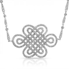 Bling Jewelry Silver Tone Cubic Zirconia Bridal Celtic Knot Necklace 18 Inch
