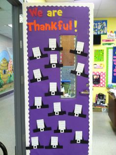 "We are thankful....Each pilgrim hat has ""I am thankful for..."" and the kids listed three things."