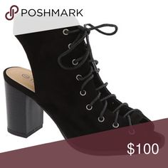 """ISO. Looking for this Hi gals. Im looking for an open back lace up bootie. Low heel 3"""" or less. In size 9.5 or 9 if fit is good. I tried these on in a 9 and my heel sticks out just a bit enough to not want a 9. Please tag any color 9.5. Its ok if used just not worn out looking. Shoes"""