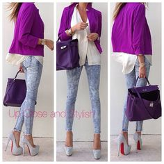Last night -  #River_Island blazer, #Theyskens_theory top, #Forever21 jeans, #Hermès #Kelly bag in ultra violet and #Louboutin strass Daffodile 160mm (see previous pic for Up Close).