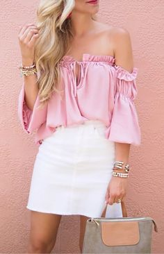 summer outfits Pink Off The Shoulder Top + White Denim Skirt