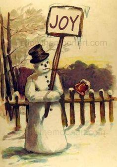 Merry Christmas Vintage Joy Snowman early 1900's Quality Art Print #unframed