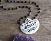 Liquor is Quicker Vintage Porcelain Black and White Sherry Liquor Tag and Czech Black Rosary Beads Necklace