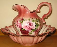 Staffordshire Iron Stone Jug and Bowl Wash Set with roses design.