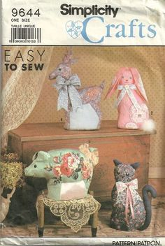 Simplicity 9644 1990s Decorative Stuffed Animals Pattern Easy  Reindeer Bunny Rabbit Pig and Cat Craft Sewing Pattern by patterngate.com