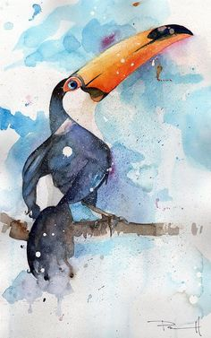 Toucan Sam Painting - watercolor on paper by artist Sean Parnell. www.parnellart.com
