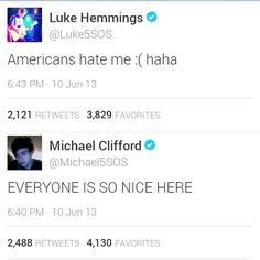 2 kinds of people----SINCE WHEN DO AMERICANS HATE LUKE?! I WILL SLAUGHTER YOU IF YOU ARE AMERICAN AND YOU HATE LUKE, NO HATES LUKE. NO ONE HATES ANY OF THEM!!!! THEY. ARE. PERF. OK? GOOD.