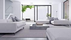 Világos minimál nappali modern kanapékkal