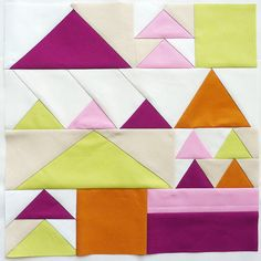 Modern Flying Geese #quilt block, I really love the colors and the design