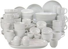 Creatable, ATELIER white, Dinner Ware Set 80 pieces, Porcelain, 59 x 42 x cm Cool Kitchen Gadgets, Cool Kitchens, Stoneware Dinnerware Sets, Living Room Tv Unit Designs, Dining Plates, Kitchenware, Tableware, Dinner Sets, Dinner Ware