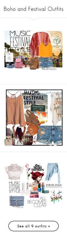 """Boho and Festival Outfits"" by stephaniefb ❤ liked on Polyvore featuring Missoni Mare, rag & bone, MANGO, BCBGeneration, DANNIJO, Aqua, Gucci, Linda Farrow, BeckSöndergaard and Sans Souci"