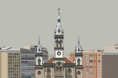 Detailed, Colorful Elevation Drawings of Historic Brazillian Buildings Illustrated in CAD,St. Joseph's Church, Belo Horizonte - Pre-restoration facade. Image © Zema Vieira