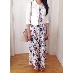 LOFT linen denim jacket and wallpaper floral maxi dress