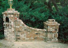 The best Brick columns driveway Brick Columns Driveway, Driveway Entrance Landscaping, Stone Columns, Brick Fence, Brick And Stone, Driveway Ideas, Driveway Gate, Driveway Posts, Circular Driveway