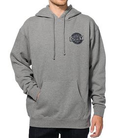 Update your hoodie game with a navy Obey Public Works logo graphic on the left chest and back plus a soft fleece lining for premium comfort.