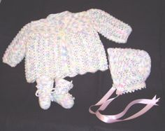 Knitted Baby Sweater - Knitted Newborn or Reborn Baby Girls Sweater, Hat and Booties in Rainbow Pastel