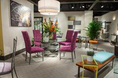 Dining room furniture, dining set, dining table, dining chairs, contemporary home furnishings, metal furniture, colorful chairs, Johnston Casuals Furniture