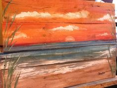 Ocean beach sunset seascape pallet art. Acrylic on wood pallet.Its made the size 20x30 nches. Ready to shtip in 4-6 weeks please let me know if u have any preferences ... Its made to order. Thanks