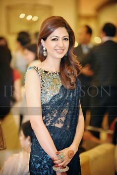 navy Blue lace saree♥#COCABURA#BETHEBEST