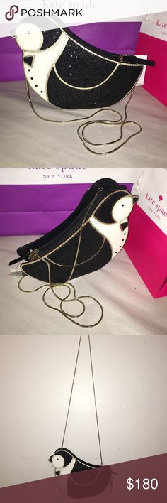 """ABSOLUTELY ADORABLEKATE ♠️PENGUIN CROSSBODY Kate Spade ♠️Penguin Crossbody Clifton Lane. Black/White/ and Gold. Strap drops at 22"""" Penguin black body is shimmery, eyes and buttons are black gems, Trim is gold, with golden hardware shoulder strap. Inside has signature logo lining. Overall a beautiful KATE SPADE ♠️ for your collection kate spade Bags Shoulder Bags"""