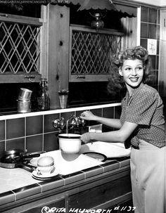 Rita Hayworth at home, 1942.
