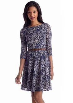 Luxology   Printed Fit and Flare Belted Dress