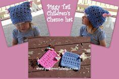 Children's Piggy Tail Chemo Hat pattern by Sara Sach Crochet Kids Hats, Crochet Cap, Free Crochet, Crocheted Hats, Crochet Designs, Crochet Patterns, Crochet Ideas, Crochet Crafts, Piggy Tail