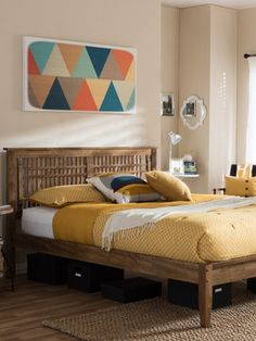 Baxton Studio Loafey Mid-Century Window-Pane Style Platform Bed on Gilt