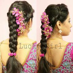 Bridal hairstyles for long hair updo plaits Ideas Saree Hairstyles, Plaits Hairstyles, Bride Hairstyles, Trendy Hairstyles, Hairstyles Haircuts, Updos, Bridal Hairstyle Indian Wedding, Bridal Hairdo, Wedding Hairstyles For Long Hair