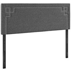 Modway Josie Queen Upholstered Fabric Headboard in Gray M...