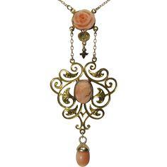 Antique Arts & Crafts Era 14K Gold Coral Cameo Lavaliere Pendant Necklace