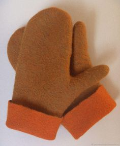 "Mittens ""Walnut pumpkin"". Felted."
