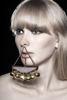 """""""Jangle""""_ Digitally embroidered clip on lip ring-nose ring hybrid with brass bells. Photography by Alyssa Boni."""