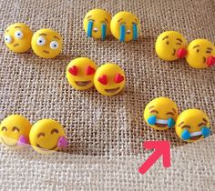 Emoticons earrings whatsapp stud studs polymer clay cute sweets kawaii handmade