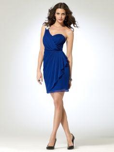 Sheer Jersey Dress with Rhinestone Shoulder