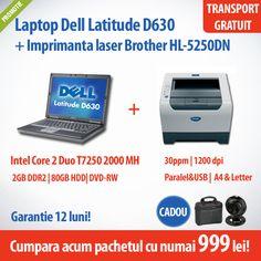 Cumpara acum laptopul Dell Latitude D630 cu procesor Intel Core 2 Duo Mobile T7250, 2 GB DDR2, 80 GB HDD si imprimanta laser Brother HL-5250DN la numai 999 lei! Primesti CADOU geanta de laptop si WebCam Microsoft LifeCam!
