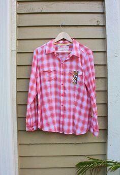 Hippie shirt Coral color shirt Plaid shirt Upcycled by SaidoniaEco