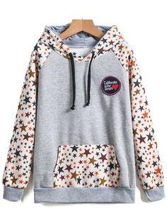 Shop Grey Hooded Long Sleeve Star Print Sweatshirt online. Sheinside offers Grey Hooded Long Sleeve Star Print Sweatshirt & more to fit your fashionable needs. Free Shipping Worldwide!