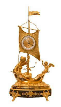 """c1815 EMPIRE MANTEL CLOCK """"Aphrodite and Cupid"""" Signed: """"""""Franz Mayer in Wien"""""""", circa 1815 Height: 50,7 cm, duration: one day Fire gilt bronze case and mountings, patinated base, enamel chapter ring, gilt engine turned center, blued steel hands, balance-wheel verge escapement, grande sonnerie on bell."""