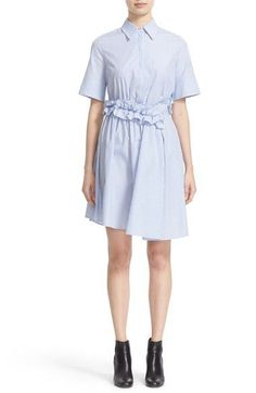 Victoria, Victoria Beckham Ruffle Waist Stripe Shirtdress