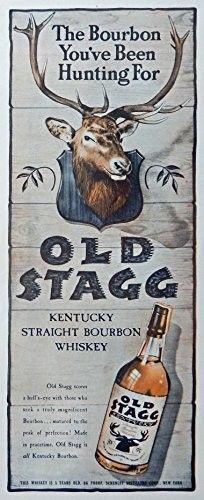 Old Stagg Whiskey  40 s Vintage Print Ad  Color Illustration   bull s eye  1945 Life Magazine Art
